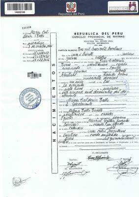 Acte de naissance (copie intégrale) Pérou