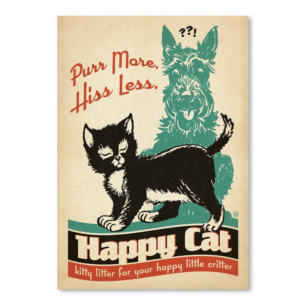 Vintage Advertisement Poster: Dog & Cat