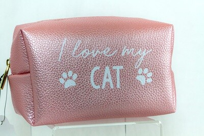 Cosmetic Case: Pink 'I Love My Cat'