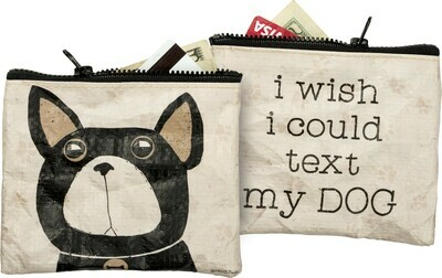 Eco-friendly Zip-Top Wallet - Wish I Could Text Dog
