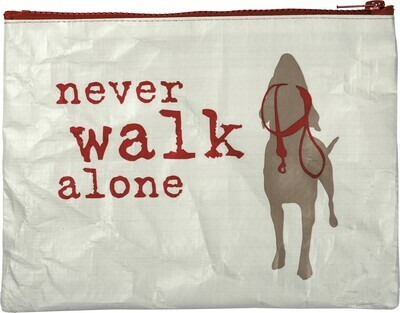 Zip-Top Oversized Pouch: 'Never Walk Alone'