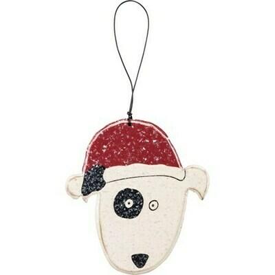 Christmas Dog w/Snow Effect Wood Ornament
