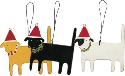 Wood Ornament Set of 3 Dogs