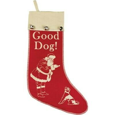 Good Dog! Retro Christmas Stocking with Bells