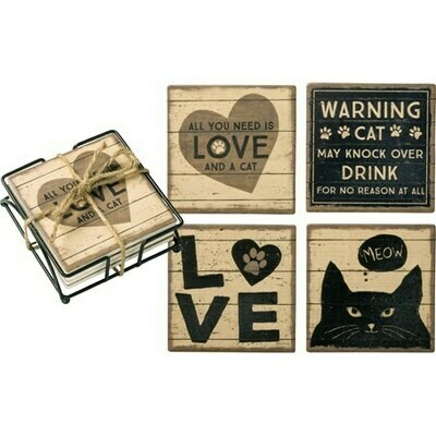 Absorbent Stone Cat Coaster Set