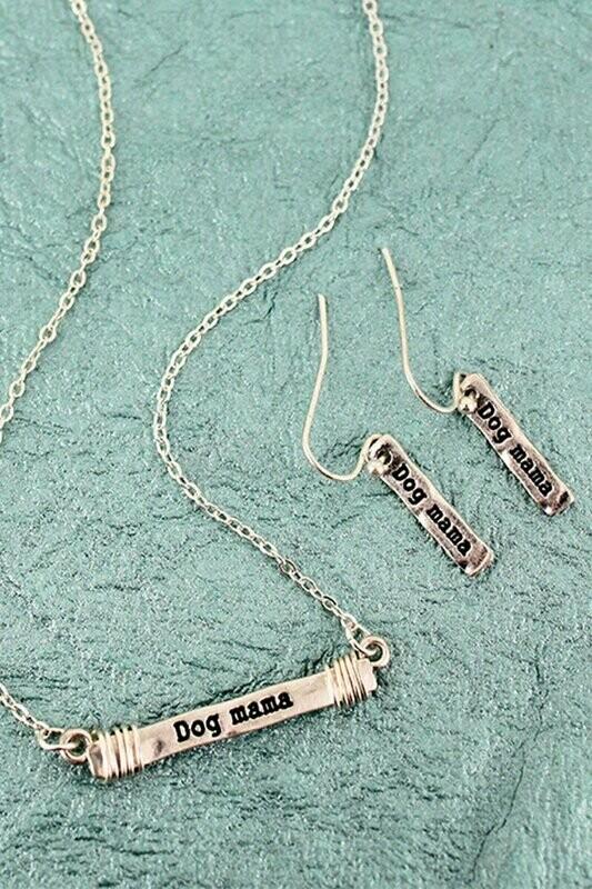 'Dog Mama' Silvertone Necklace & Earrings Set