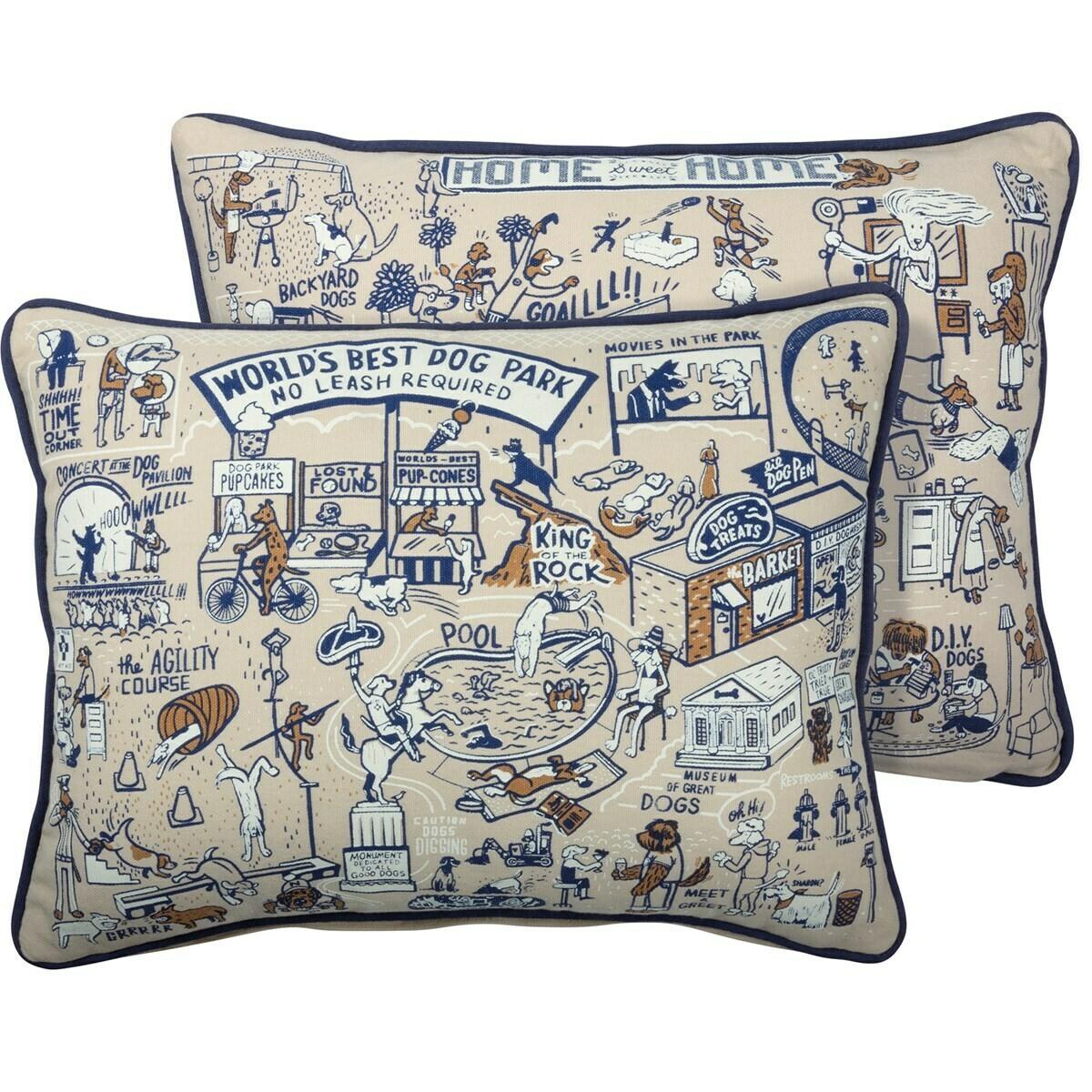 Reversible Retro Art Pillows (Dog Park & Catsville)