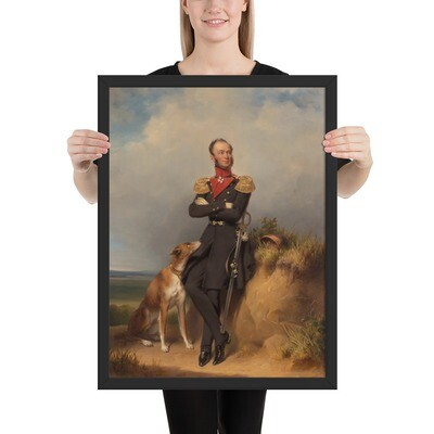 Framed Museum Art Poster: King William II & His Dog