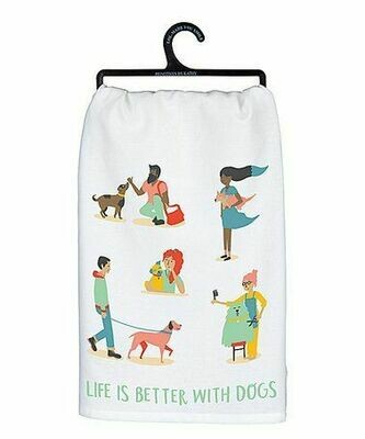Life's Better with Dogs Cotton Dish Towel