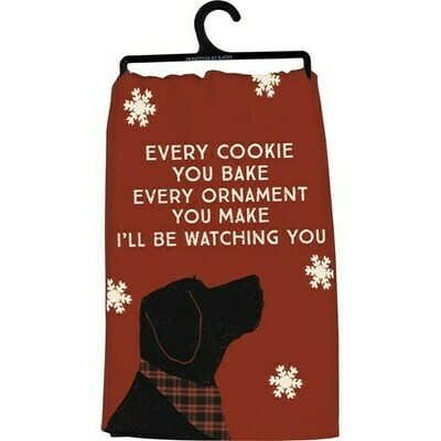 Christmas Dog Kitchen Towel: 'Every Cookie I'll be Watching'