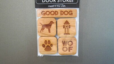 Hand Carved 'Good Dog' Refrigerator Magnet Set