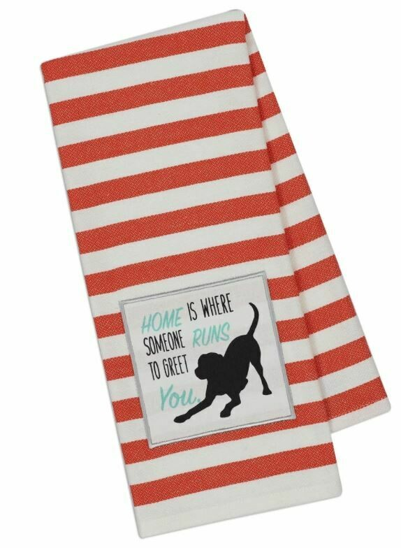 Striped Kitchen Towel - 'Home is Where Dog Runs'