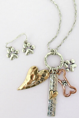 Dog Lover Charms Necklace and Earrings Set