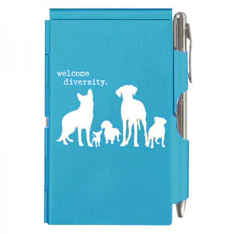Compact Flip Notepad w/Pen: 'Welcome Diversity'