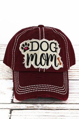 'Dog Mom' Embroidered Cap (7 colors!)