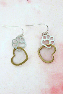 Paw with Heart Silvertone and Goldtone Earrings