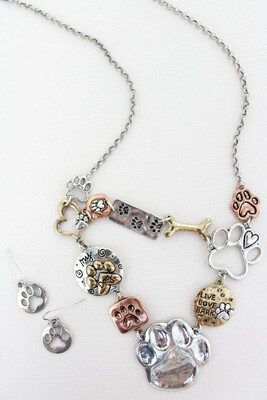 Paw Print Charms Necklace and Earrings Set
