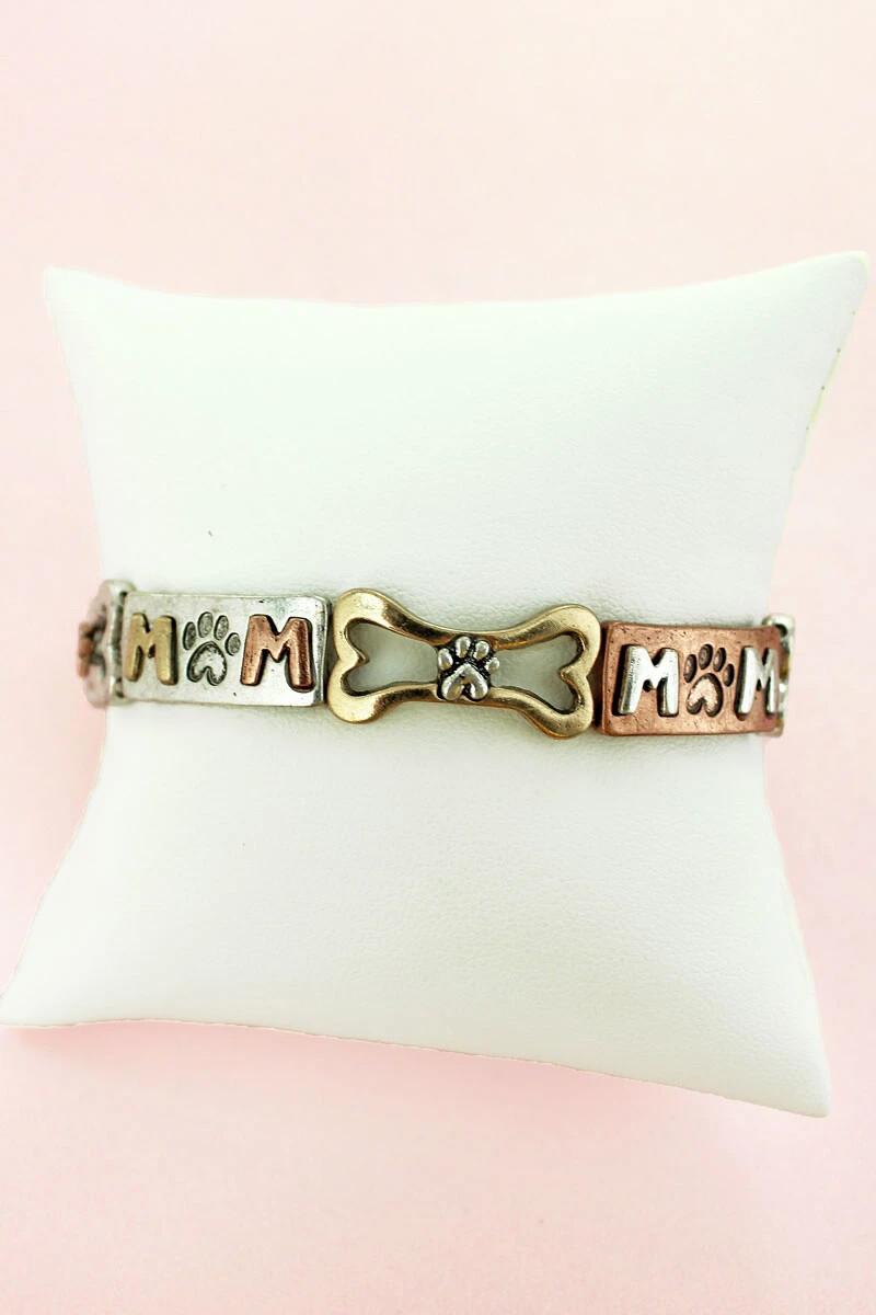 'Dog Mom' Rustic-Style Stretch Bracelet