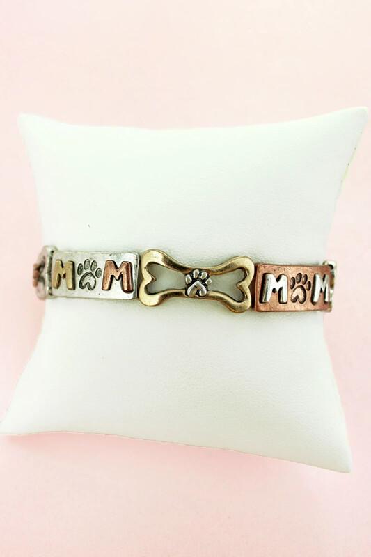 'Dog Mom' Stretch Rustic-Style Bracelet