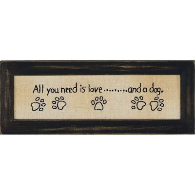 Canvas Hand-Stitched Framed Art: 'All you need is Love and Dog'