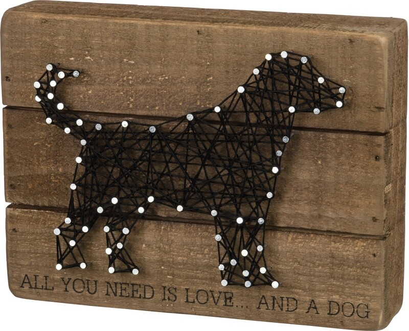 Labrador String Art Block Sign: 'All You Need is Love...'
