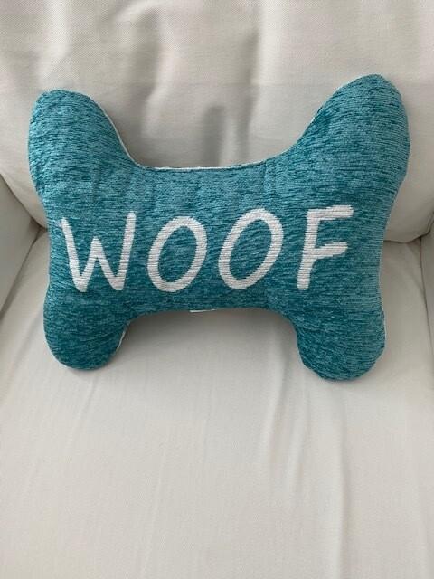 Bone-Shaped Reversible Pillow: 'Woof'