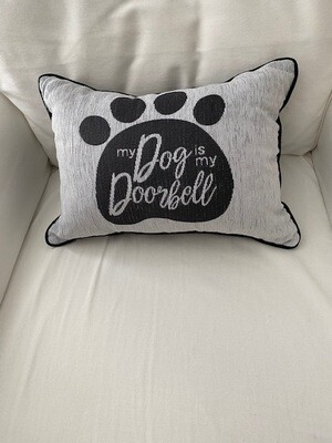 Rectangular Paw Print Pillow: 'My Dog is Doorbell'