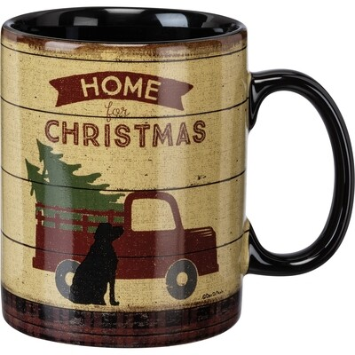 Home for Christmas w/Black Labrador Large Mug