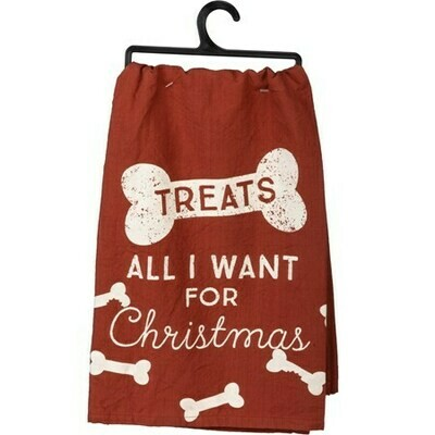 Christmas Rustic Kitchen Towel: 'All I Want Are Treats'