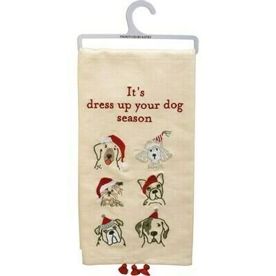 Christmas Linen Kitchen Towel w/Tassels: Dress Up Dog Season