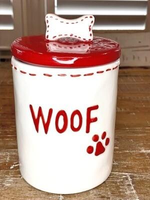 Woof Ceramic Treats Jar w/Bone-Shaped Handle