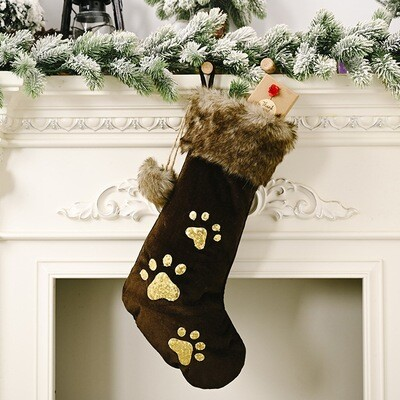 Velvet & Sequined Paws Faux Fur-Lined Christmas Stocking