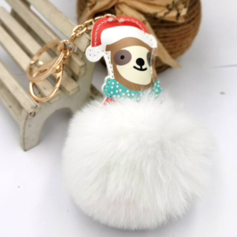 Christmas Dog w/Fluffball Keychain