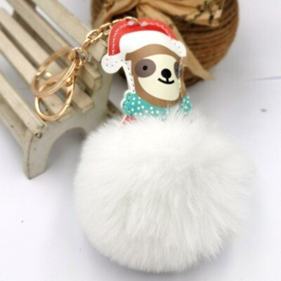 Christmas Dog w/Fluffball Keychain