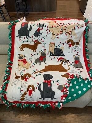 Christmas Dogs Fleece Blanket: Handcrafted