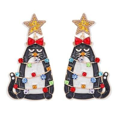 Cat Christmas Tree Rhinestone Earrings