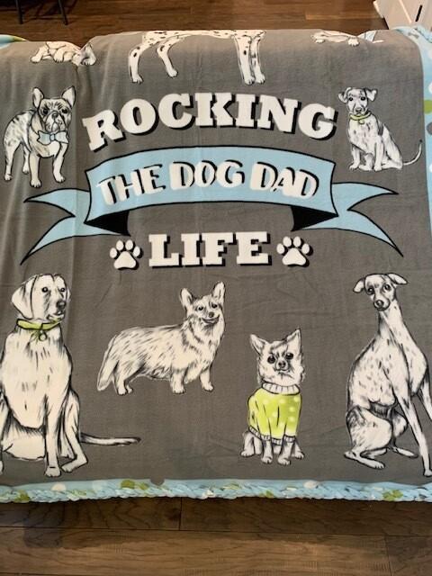 Reversible Dog Dad Fleece Blanket