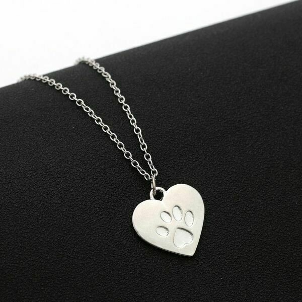 Heart w/Embossed Paw Pendant Necklace