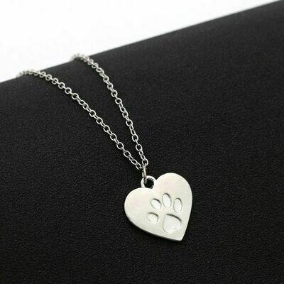Silver-Plated Heart Necklace w/Embossed Paw