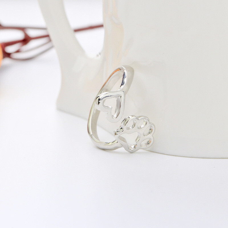 Adjustable Silver-Plated Ring: 'Heart & Paw'