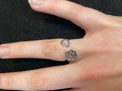 Adjustable Ring: Paw and Heart