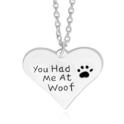 Silver-Plated Heart Necklace: 'You Had Me at Woof'