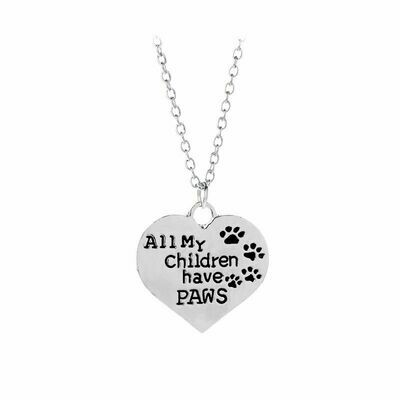 Silver-Plated Heart Necklace: 'All My Children Have Paws'
