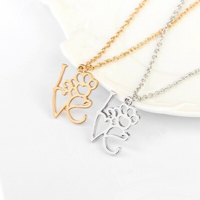 'L-O-V-E' Paw Plated Necklace