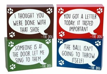 'Dog Talk' Funny Wood Block Signs