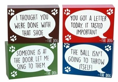 Funny 'Dog Talk' Wood Block Signs
