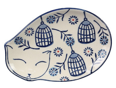 Pottery Trinket Dish: Curled-up Cat