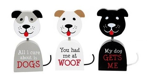 Tabletop Dog-Shaped Wood Cutouts (3 sayings!)