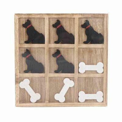 Wood Tic Tac Toe Board: 'Dog & Bones'