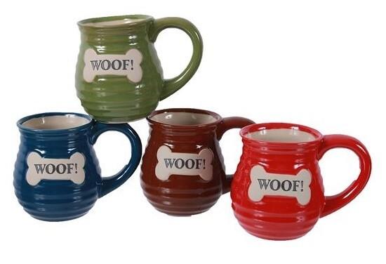 Stoneware Mug w/Embossed 'Woof' Bone